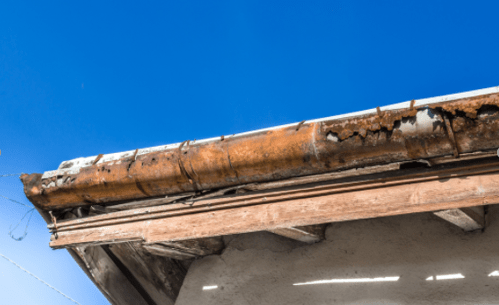 Lindab gutter weathered